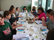 Religious School students enjoy a chocolate seder